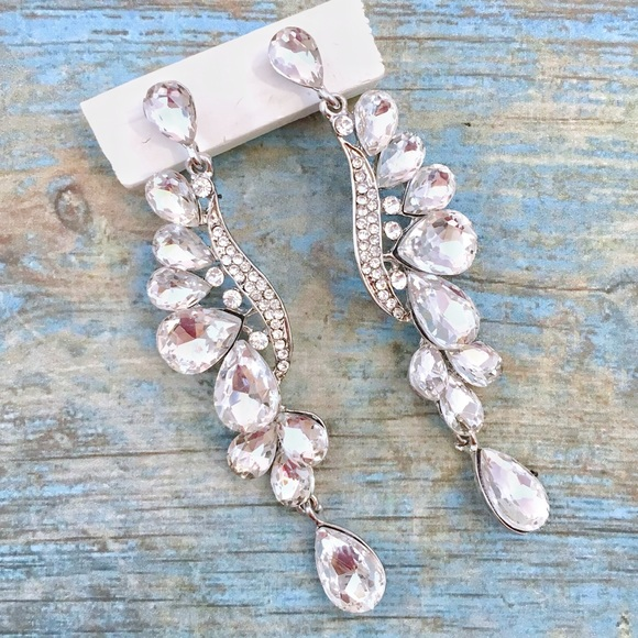 Cherryl's Jewelry - Long Crystal Occasion Event or Pageant Earrings